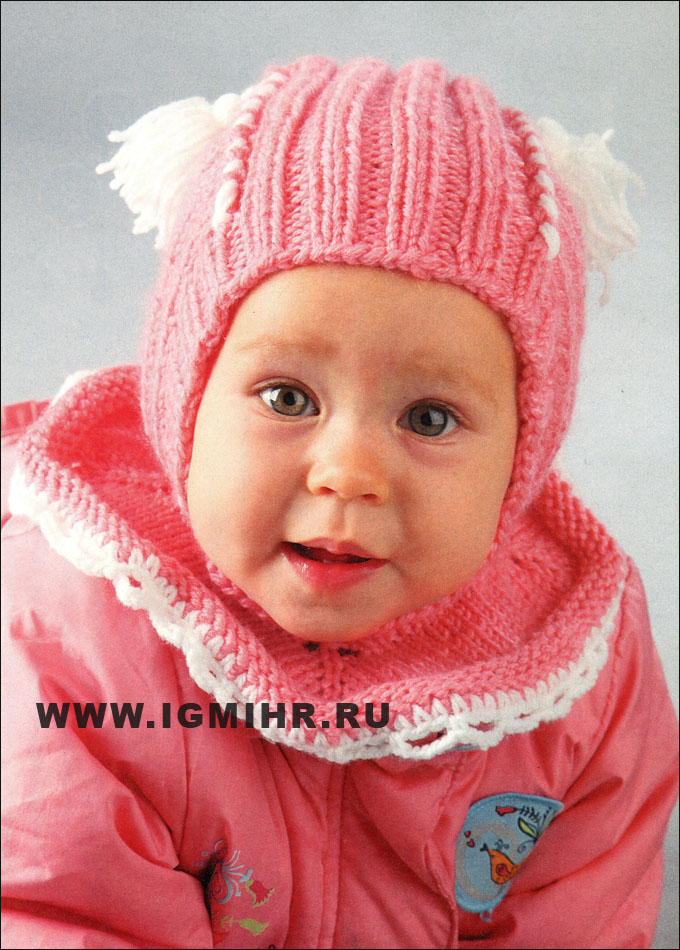 Розовая шапочка-шлем для