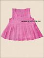 Летний розовый сарафан для маленькой девочки. Спицы