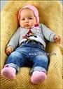 Розовый комплект для малышки 3-5 месяцев: шапочка и пинетки. Крючок
