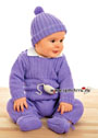 Теплый лиловый комплект для малыша: комбинезон, шапочка и пинетки. Спицы