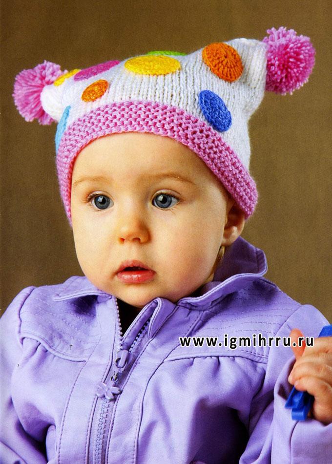 Шапочка Мыльные пузыри, для малышки 8-12 месяцев. Спицы