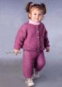 Комплект брусничного цвета для малышки 9-12 месяцев. Спицы