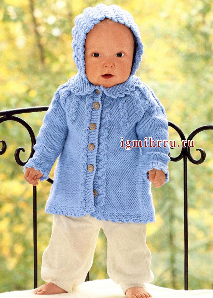 Теплый серо-голубой жакет и чепчик для малышки. Спицы