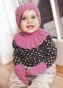Надежная защита от прохлады. Розовый шлем и варежки для девочки в возрасте до 2-х лет. Спицы