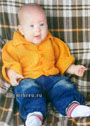 Жакет цвета охры для малыша 6-9 месяцев. Спицы