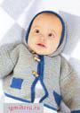 Жакет с капюшоном для малыша 6-9 месяцев. Спицы