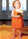 Летний оранжевый сарафан для малышки 2-х лет. Спицы