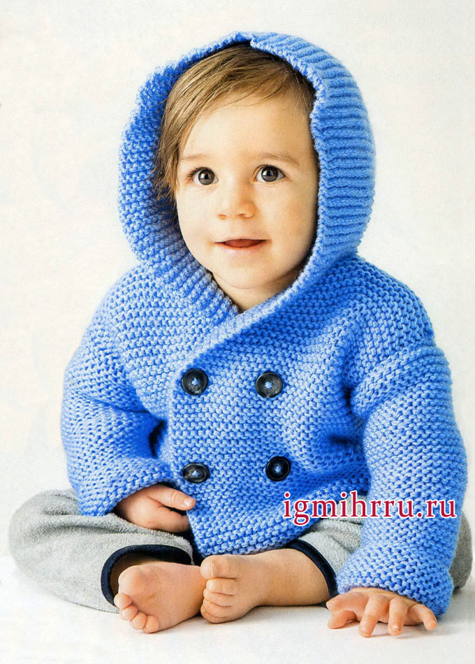 Голубой жакет с капюшоном для малыша, от финских дизайнеров. Вязание спицами