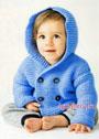 Голубой жакет с капюшоном для малыша. Спицы