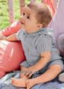 Серый комбинезон с капюшоном для малыша. Спицы