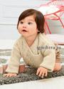 Светло-бежевый жакет с косами для малышки 3-18 месяцев. Спицы