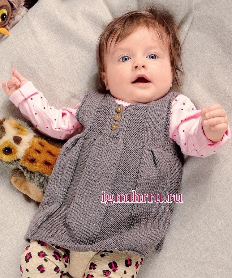 Теплый сарафан из мягкой мериносовой шерсти для малышки 1-15 месяцев. Вязание спицами