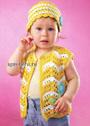 Для малышки 1,5-2 лет. Ажурный летний жилет и шапочка. Крючок