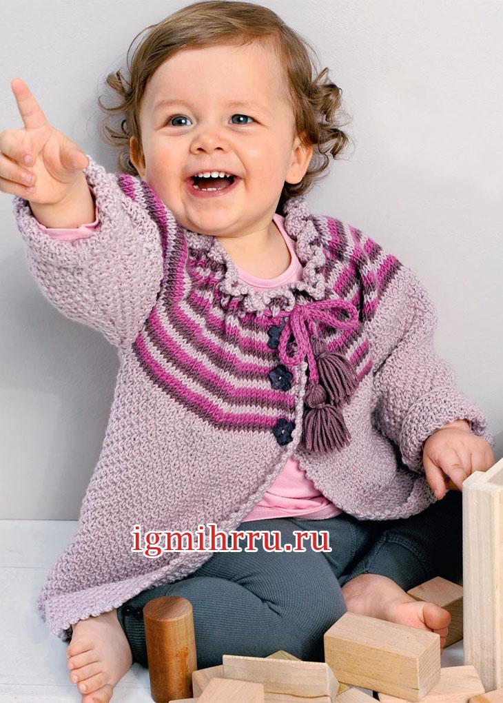 Для малышки 1-18 месяцев. Теплая кофточка с полосатой кокеткой. Вязание спицами