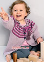 Для малышки 1-18 месяцев. Теплая кофточка с полосатой кокеткой. Спицы