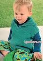 Для малыша в возрасте 1-18 месяцев. Бирюзовый жилет с большим воротником. Спицы