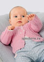 Для малышки до 1 года. Теплая розовая кофточка с ажурными дорожками. Спицы