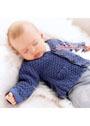 Для малыша в возрасте до 15 месяцев. Синий шерстяной жакет на пуговицах. Спицы
