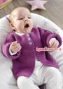 Лиловый жакет для малышки в возрасте от 3 месяцев до 2 лет. Спицы