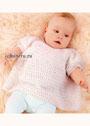 Для малышки 1-18 месяцев. Свободный белый джемпер с короткими рукавами. Крючок