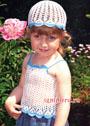 Нежный летний комплект для малышки 1-2 лет: топ и шапочка. Крючок