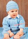 Голубой шерстяной комбинезон и шапочка для малыша 9-12 месяцев. Спицы