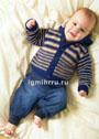 Для малыша 6 месяцев – 4 лет. Полосатый жакет с капюшоном. Спицы