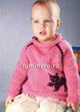 Для малыша 1,5-2 лет. Теплый пуловер с мотивом Кошка. Спицы