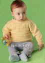 Для малыша 1 года. Желтый пуловер с рельефным узором. Спицы