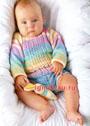 Разноцветный летний пуловер для малыша 5-6 месяцев. Спицы