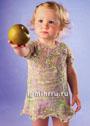 Для малышки 1-1,5 лет. Летнее платье с круглой кокеткой. Спицы