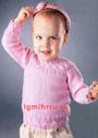 Розовый пуловер с косами для малышки 1-1,5 лет. Спицы