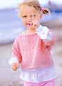 Для малышки 2-4 лет. Розовый ажурный пуловер. Спицы