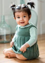 Темно-зеленый теплый сарафан для маленькой девочки. Спицы