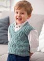 Серо-зеленый жилет для маленького мальчика. Спицы