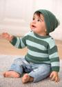 Для малыша 1-18 месяцев. Шерстяной комплект из пуловера в полоску и шапочки. Спицы