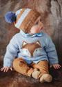 Для малыша в возрасте до 6 месяцев. Кофточка с лисой, пинетки и шапочка. Спицы