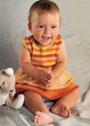 Для малышки 8-10 месяцев. Платье в полоску с оборками. Спицы