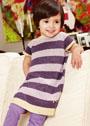 Для маленькой девочки 1-3 лет. Полосатая туника с вышитыми цветами. Спицы