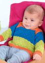 Трехцветный теплый пуловер для малыша в возрасте от 1 месяца до 4 лет. Спицы