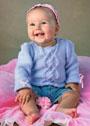 Сиреневый пуловер с косами для малышки 6-9 месяцев. Спицы