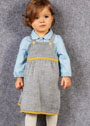 Для малышки в возрасте до 2 лет. Серый сарафан на бретелях. Спицы