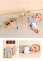 Для малышки в возрасте до 12 месяцев. Туника и штанишки в бежево-голубых тонах. Спицы