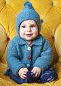 Для малышей: жакет с застежкой на цветные пуговицы и шапочка с помпоном. Спицы