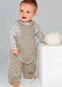 Для малыша 1-18 месяцев. Бежевый комбинезон с карманами. Спицы