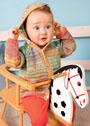 Для малыша 1-15 месяцев. Полосатый жакет с капюшоном. Спицы