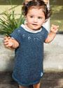 Для малышки в возрасте до 3 лет. Синее легкое платье с кокеткой. Спицы