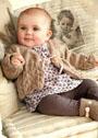 Для малышки 3-18 месяцев. Бежевый жакет с ажурным узором. Спицы
