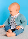 Для малыша в возрасте до 15 месяцев. Жакет мятного цвета с серыми планками. Спицы