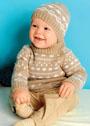 Для малыша в возрасте до 3 лет. Шерстяной жаккардовый комплект из пуловера и шапочки. Спицы